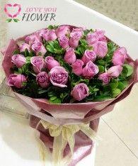ช่อดอกไม้ Violet ดอกกุหลาบม่วง