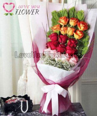 ช่อดอกไม้ Alain ดอกกุหลาบส้ม กุหลาบแดง กุหลาบชมพู