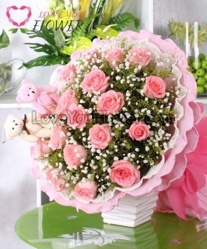 ช่อดอกไม้ Beatrix ดอกกุหลาบชมพู ดอกคัดเตอร์