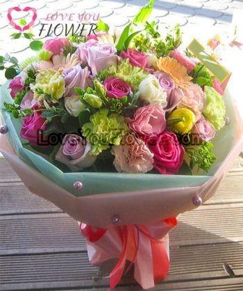 ช่อดอกไม้ Erity ดอกกุหลาบชมพู ดอกคาร์เนชั่น