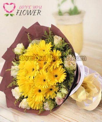 ช่อดอกไม้ Halona ดอกเยอบีร่า ดอกไลเซนทัส