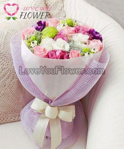 ช่อดอกไม้ Caroline ดอกกุหลาบ ดอกคาร์เนชั่น