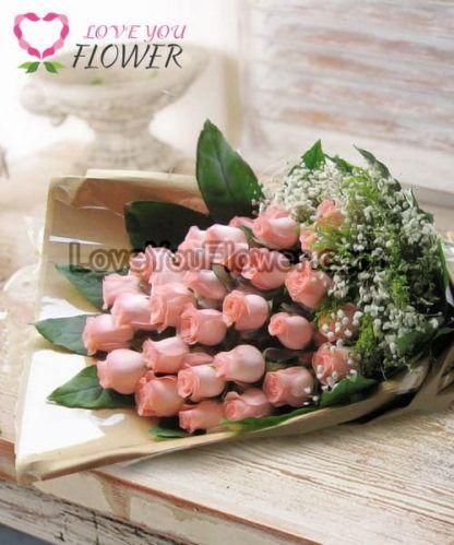 ช่อดอกไม้ Jussica ดอกกุหลาบสีชมพูโอลด์โรส ดอกยิปโซ