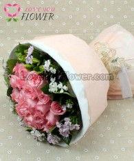 ช่อดอกไม้ Lova ดอกกุหลาบชมพู ดอกผีเสื้อ