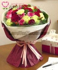 ช่อดอกไม้ Amity ดอกกุหลาบแดง ดอกกุหลาบชมพู
