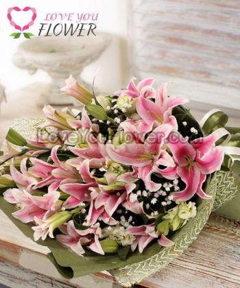 ช่อดอกไม้ Lilia ดอกกุหลาบขาว ดอกคาร์เนชั่นขาว