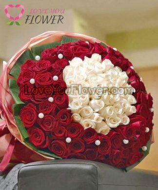 ช่อดอกไม้ Aphrodite ดอกกุหลาบขาว ดอกกุหลาบแดง