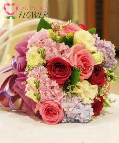 ช่อดอกไม้ Rada ดอกกุหลาบ ดอกไฮเดรนเยีย