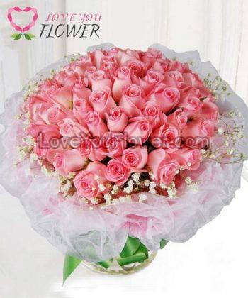 ช่อดอกไม้ Princess ดอกกุหลาบชมพู ดอกยิปโซ