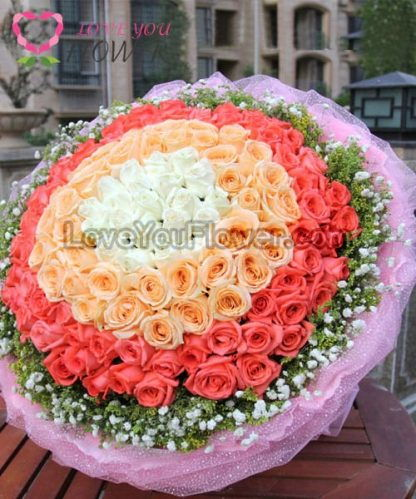 ช่อดอกไม้ Gadina ดอกกุหลาบขาว ดอกกุหลาบเหลือง