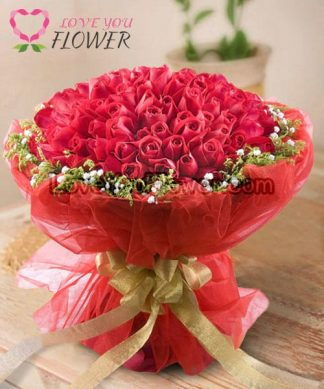 ช่อดอกไม้ Mischal ดอกกุหลาบแดง ดอกยิปโซ