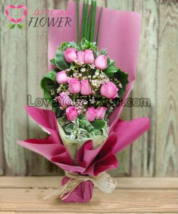 ช่อดอกไม้ Mary ดอกกุหลาบชมพู ดอกคัดเตอร์