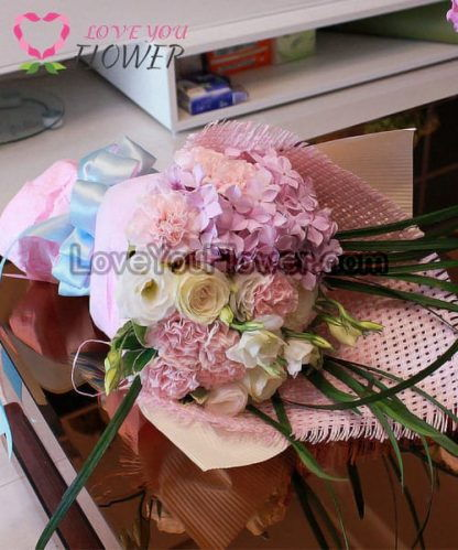 ช่อดอกไม้ Rochana ดอกไฮเดรนเยีย ดอกกุหลาบ