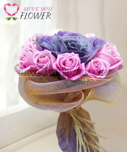 ช่อดอกไม้ Noraleen ดอกกุหลาบชมพู ดอกกะหล่ำม่วง
