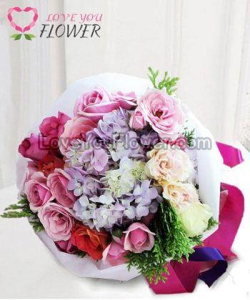 ช่อดอกไม้ Latiana ดอกไฮเดรนเยีย ดอกกุหลาบ