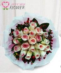 ช่อดอกไม้ Rhamah ดอกกุหลาบสีขาวชมพู ดอกมิกกี้เมาส์