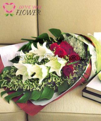 ช่อดอกไม้ Delyse ดอกลิลลี่ขาว ดอกกุหลาบแดง