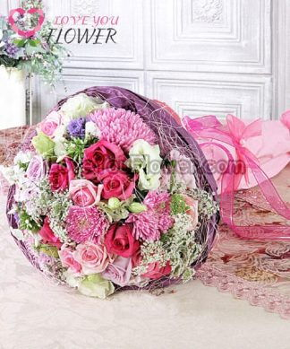 ช่อดอกไม้ Alyssa ดอกกุหลาบ ดอกคาร์เนชั่น