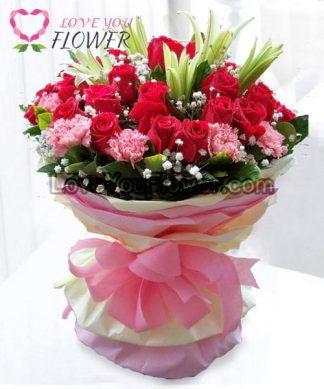 ช่อดอกไม้ Hanania ดอกกุหลาบ ดอกลิลลี่