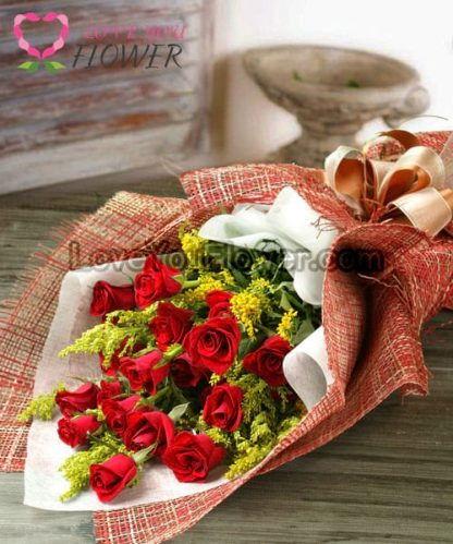 ช่อดอกไม้ Ordella ดอกกุหลาบแดง ดอกสุ่ย