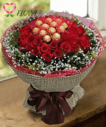 ช่อดอกไม้ Eudora ขนมหวานเฟอร์เรโร่ ดอกกุหลาบแดง