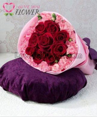 ช่อดอกไม้ Cher กุหลาบแดง ดอกคาร์เนชั่นชมพู