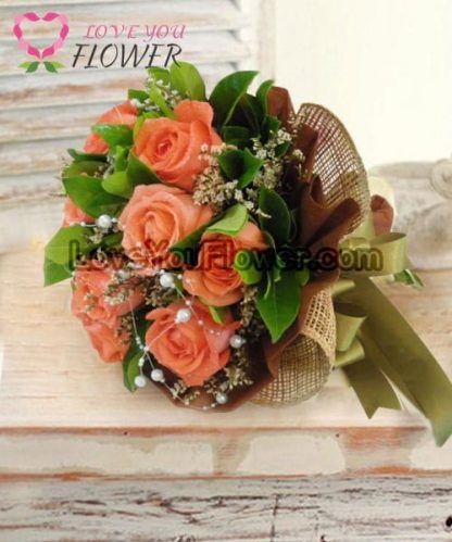 ช่อดอกไม้ Nadia ดอกกุหลาบส้ม ดอกสุ่ย