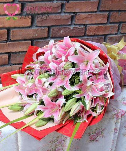 ช่อดอกไม้ Lillian ดอกลิลลี่ชมพู ดอกสุ่ย