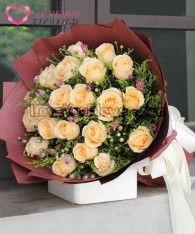 ช่อดอกไม้ Lunasa ดอกกุหลาบขาว ดอกมัม