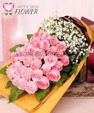 ช่อดอกไม้ Loradi ดอกกุหลาบ ดอกยิปโซ
