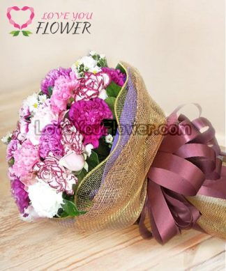 ช่อดอกไม้ Joy ดอกคาร์เนชั่นชมพู ดอกคัดเตอร์