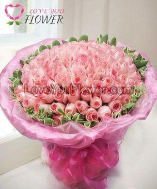 ช่อดอกไม้ Angelica ดอกกุหลาบชมพู