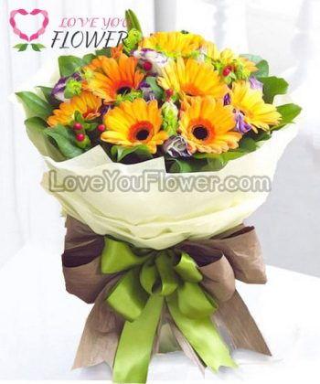 ช่อดอกไม้ Abigail ดอกเยอบีร่าส้ม ดอกไลเซนทัสม่วง