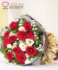 ช่อดอกไม้ Amy ดอกกุหลาบแดง ดอกกุหลาบขาว