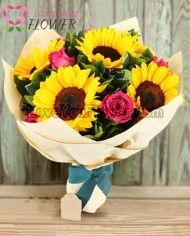ช่อดอกไม้ Eleanor ดอกทานตะวัน ดอกกุหลาบ