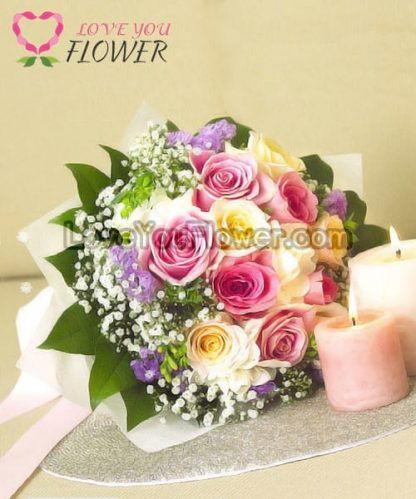 ช่อดอกไม้ Karishma ดอกกุหลาบ