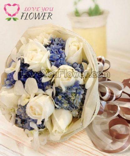ช่อดอกไม้ Muriel ดอกกุหลาบ ดอกไฮเดรนเยีย
