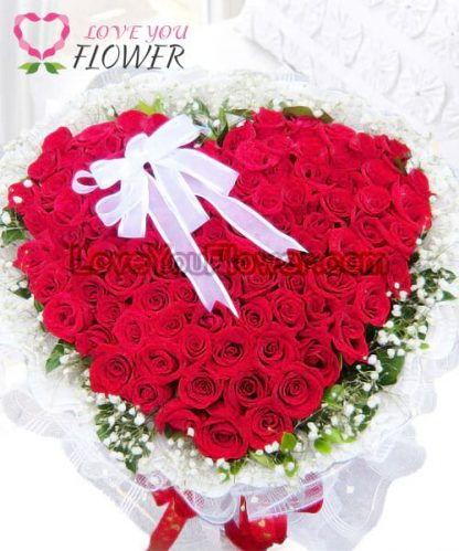 ช่อดอกไม้ Kamalei ดอกกุหลาบแดง ดอกยิปโซ
