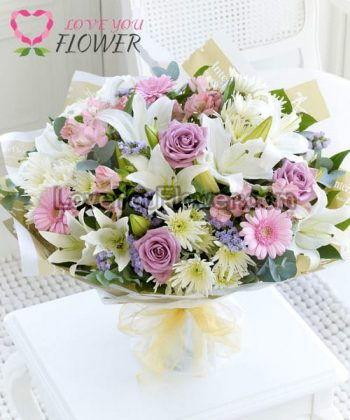 ช่อดอกไม้ Florence ดอกลิลลี่ ดอกกุหลาบ
