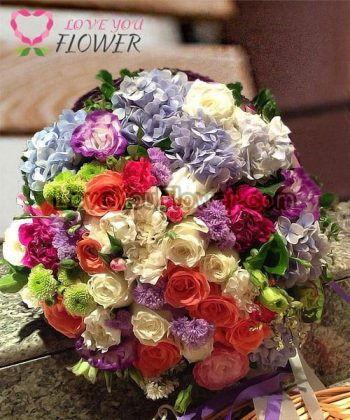ช่อดอกไม้ Aeris ดอกกุหลาบ ดอกไฮเดรนเยีย