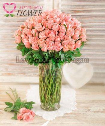 แจกันดอกไม้ Reyhan ดอกกุหลาบชมพูโอลด์โรส