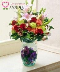 แจกันดอกไม้ LaVelle ดอกกุหลาบ ดอกลิลลี่