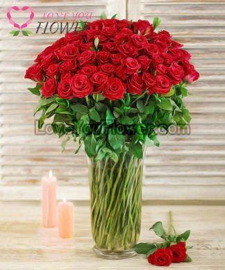 แจกันดอกไม้ Idumea ดอกกุหลาบแดง
