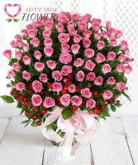 กระเช้าดอกไม้ Rosario ดอกกุหลาบชมพู