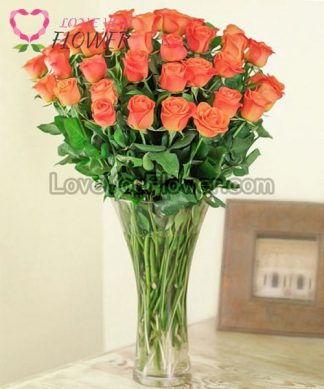 แจกันดอกไม้ Ambra ดอกกุหลาบส้ม