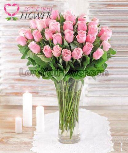 แจกันดอกไม้ Zahira ดอกกุหลาบชมพู