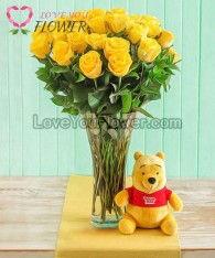 แจกันดอกไม้ Luana ดอกกุหลาบเหลือง
