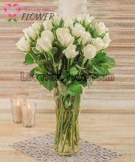 แจกันดอกไม้ Zenaide ดอกกุหลาบขาว