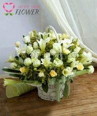 กระเช้าดอกไม้ Whitley ดอกกุหลาบ ดอกลิลลี่