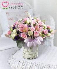 กระเช้าดอกไม้ Felipe ดอกกุหลาบ